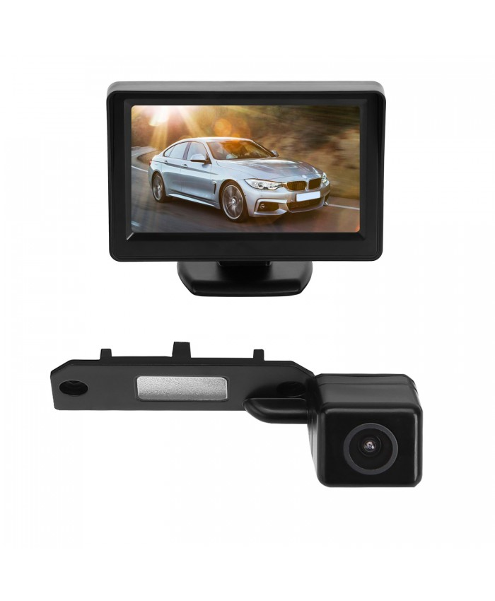 BRAUTO Reversing Camera with 4.3'' Colour  Monitor for VW T5 Transporter Wired Touran Caddy Red Golf T28 T30
