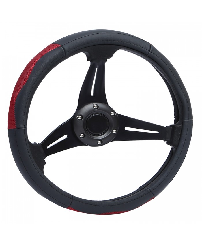 BRAUTO 15 inch/38CM Car Steering Wheel Cover Genuine Leather Anti-slip Protector for Auto Truck SUV Van Black+Red